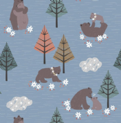 Lewis & Irene - Bear Hug - 6181 - Bears Playing on Blue  - A311.2 - Cotton Fabric